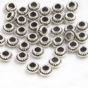 Metal spacer beads, Tibetan silver [an alloy of nickel and copper], Silver colour , Black , 7mm x 7mm x 4mm, 5 Beads, [ZYS0051]